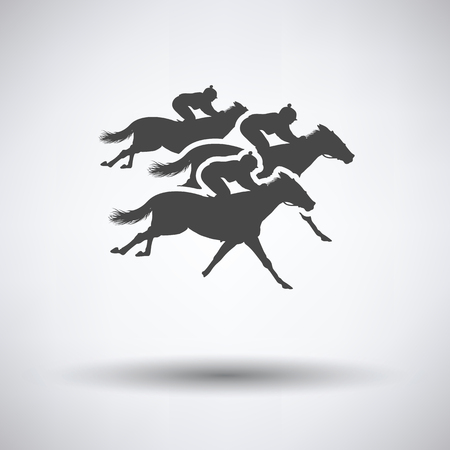 hippodrome: Horse ride icon on gray background with round shadow. Vector illustration.