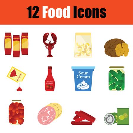 vegetable cook: Food icon set. Color flat design. Vector illustration.