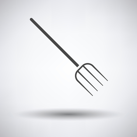pitchfork: Pitchfork icon on gray background with round shadow. Vector illustration. Illustration
