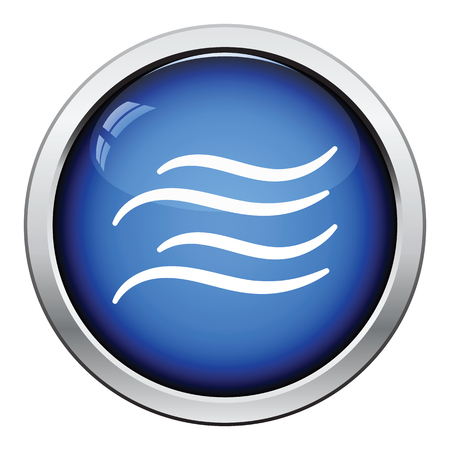 round button: Water wave icon. Glossy button design. Vector illustration.