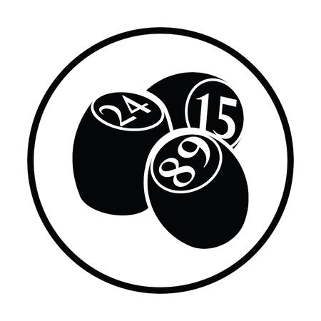 money sphere: Bingo Kegs icon. Thin circle design. Vector illustration.