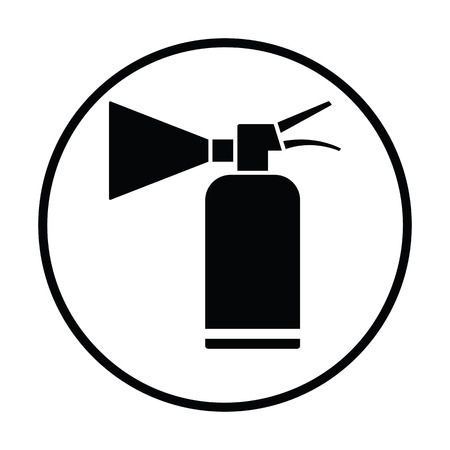 suppression: Extinguisher icon. Thin circle design. Vector illustration.