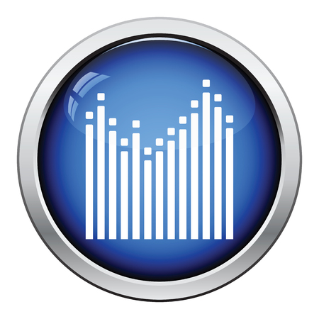 graphic equalizer: Graphic equalizer icon. Glossy button design. Vector illustration. Illustration