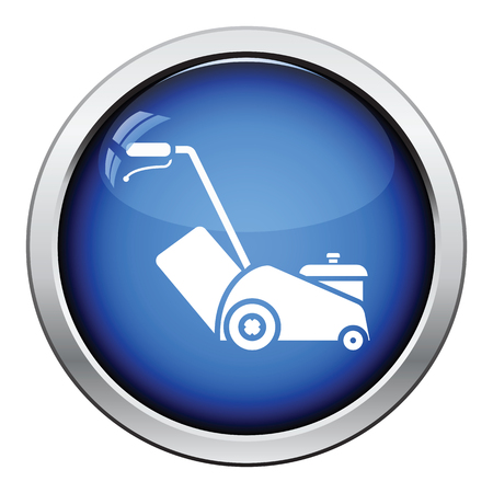 push mower: Lawn mower icon. Glossy button design. Vector illustration. Illustration