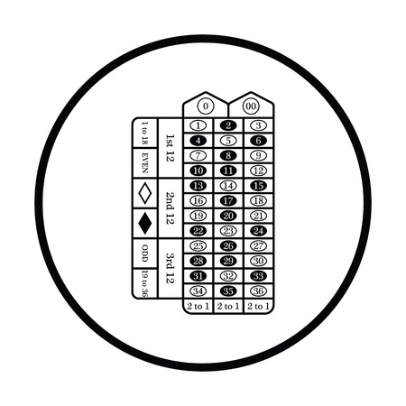 roulette table: Roulette table icon. Thin circle design. Vector illustration. Illustration