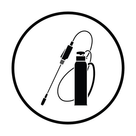 Garden sprayer icon. Thin circle design. Vector illustration. Illustration