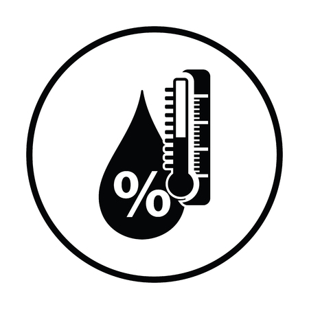 humidity: Humidity icon. Thin circle design. Vector illustration.
