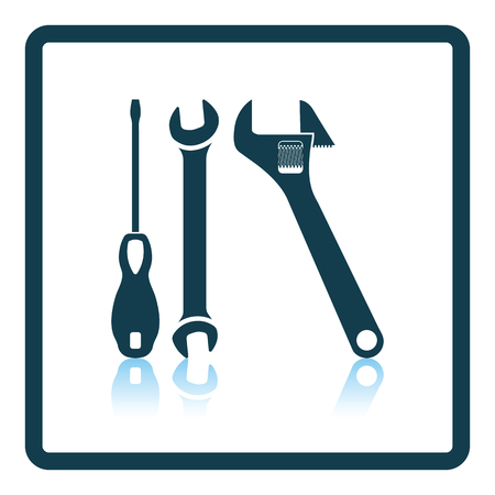 maintenance symbol: Wrench and screwdriver icon. Shadow reflection design. Vector illustration. Illustration