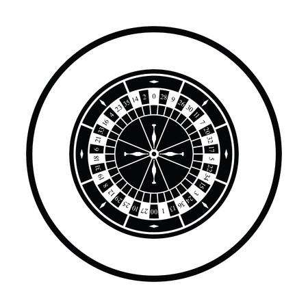 Roulette wheel icon. Thin circle design. Vector illustration.