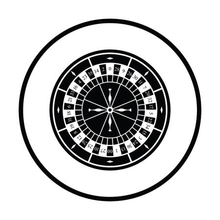 Roulette wheel icon. Thin circle design. Vector illustration.