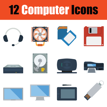 sd: Computer icon set. Color flat design. Vector illustration.