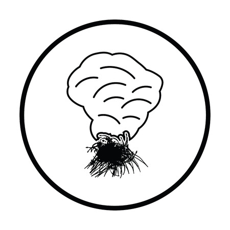 Sesonal grass burning icon. Thin circle design. Vector illustration.