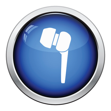 volume: Headset  icon. Glossy button design. Vector illustration.