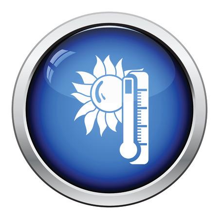 summer heat: Summer heat icon. Glossy button design. Vector illustration.