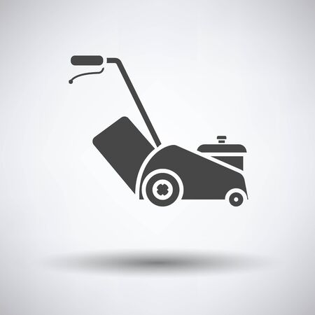 push mower: Lawn mower icon on gray background with round shadow. Vector illustration. Illustration