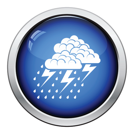 button icons: Thunderstorm icon. Glossy button design. Vector illustration.
