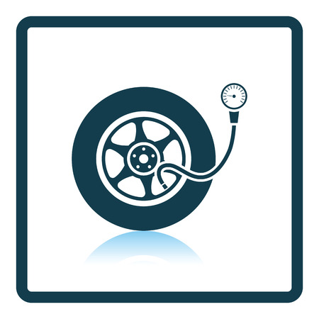 gage: Tire pressure gage icon. Shadow reflection design. Vector illustration.