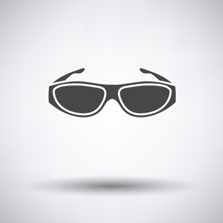 bifocals: Poker sunglasses icon on gray background with round shadow. Vector illustration. Illustration