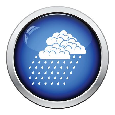 rainfall: Rainfall icon. Glossy button design. Vector illustration. Illustration