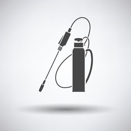 crop sprayer: Garden sprayer icon on gray background with round shadow. Vector illustration. Illustration