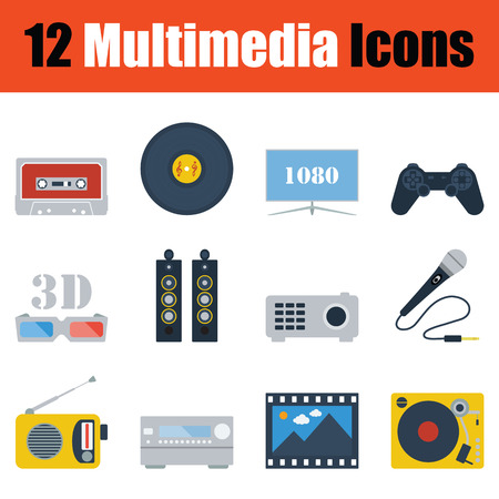 multimedia icon: Multimedia  icon set. Color flat design. Vector illustration.