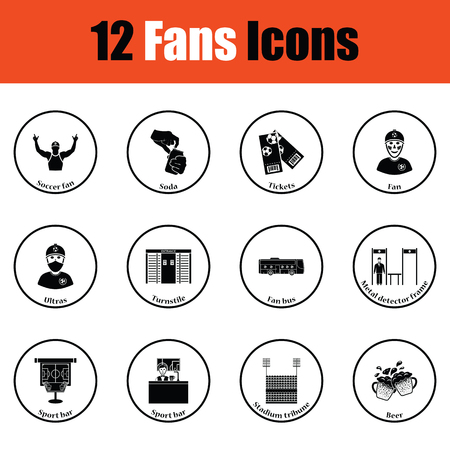 grandstand: Set of soccer fans icons.  Thin circle design. Vector illustration. Illustration