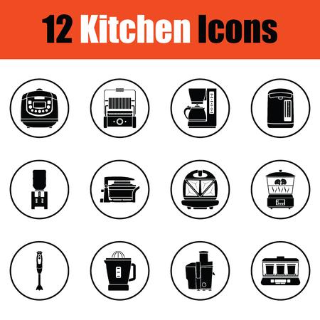 household goods: Kitchen icon set.  Thin circle design. Vector illustration.