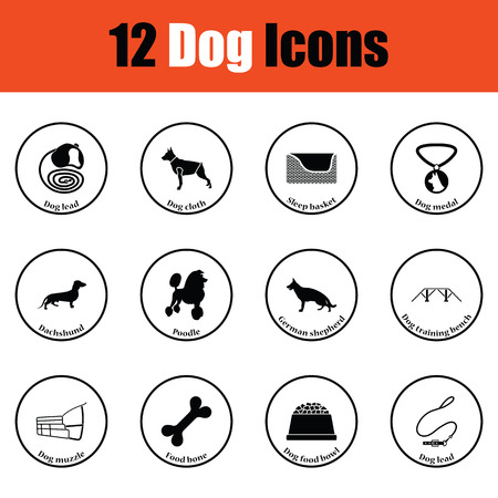 the trappings: Set of dog breeding icons.  Thin circle design. Vector illustration.
