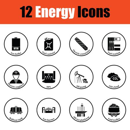 power station: Energy icon set.  Thin circle design. Vector illustration.