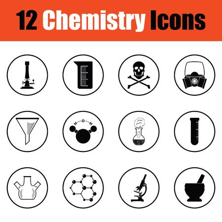 hexa: Chemistry icon set.  Thin circle design. Vector illustration. Illustration