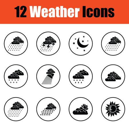 partly sunny: Set of weather icons.  Thin circle design. Vector illustration.