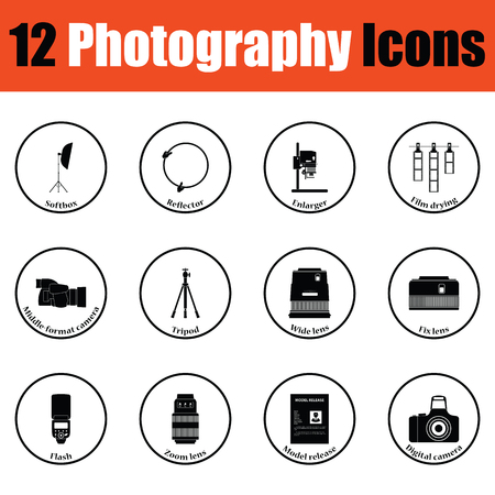 enlarger: Photography icon set.  Thin circle design. Vector illustration.