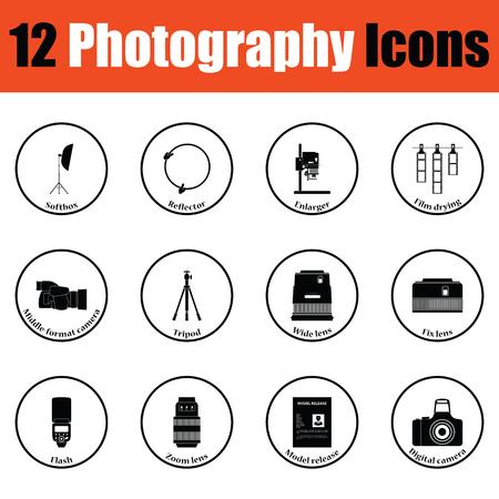 Photography icon set.  Thin circle design. Vector illustration.