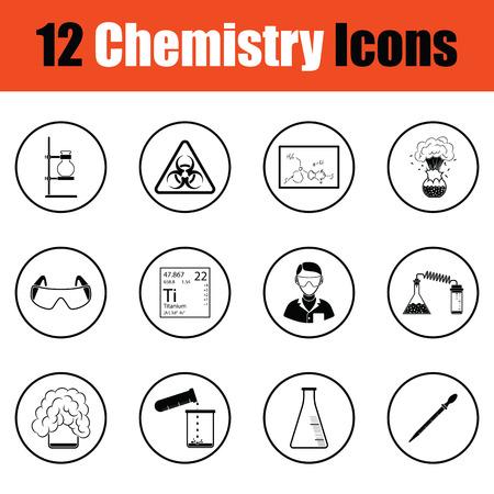 experiments: Chemistry icon set.  Thin circle design. Vector illustration. Illustration