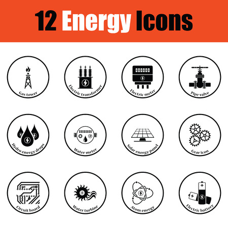 electricidad industrial: Conjunto del icono de la energía. diseño del círculo delgada. Ilustración del vector.