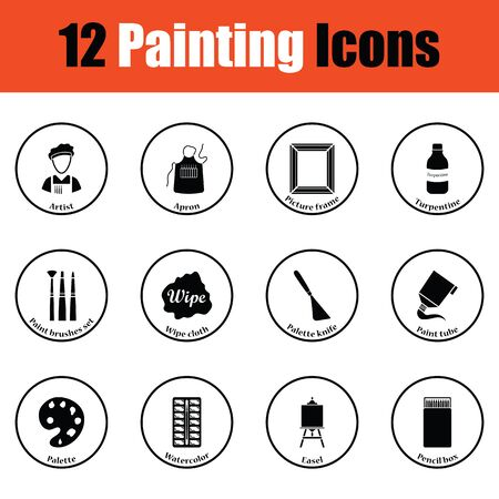 drawing paper: Set of painting icons.  Thin circle design. Vector illustration. Illustration