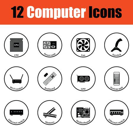 Set of computer icons.  Thin circle design. Vector illustration. Illustration
