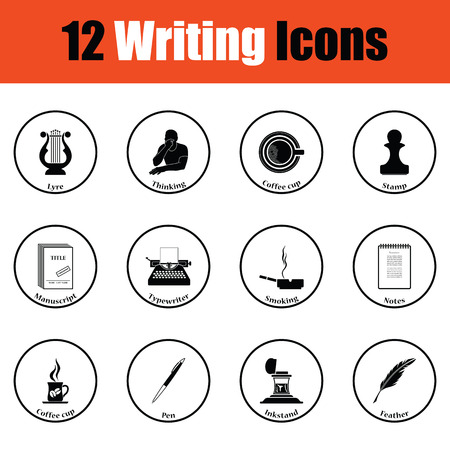 writer: Set of writer icons.  Thin circle design. Vector illustration.