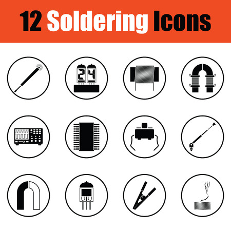 Set of soldering  icons.  Thin circle design. Vector illustration.