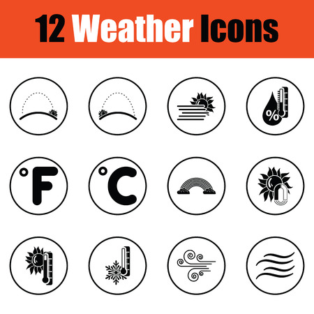 humid: Set of weather icons.  Thin circle design. Vector illustration.