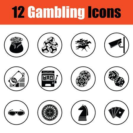 lucky bag: Gambling icon set.  Thin circle design. Vector illustration.