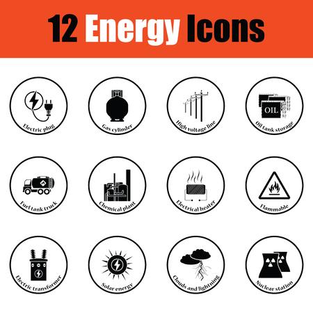 power transformer: Energy icon set.  Thin circle design. Vector illustration.