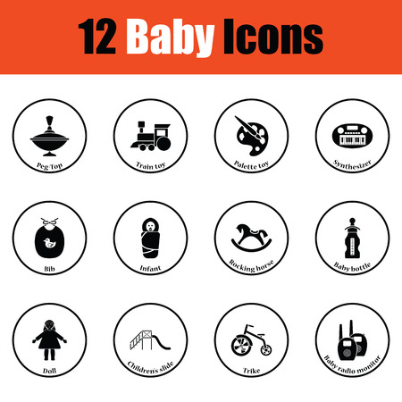 bootees: Set of baby icons.  Thin circle design. Vector illustration.