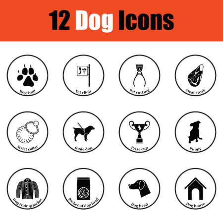 shop for animals: Set of dog breeding icons.  Thin circle design. Vector illustration.