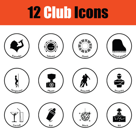 nightclub bar: Set of twelve Night club icons.  Thin circle design. Vector illustration.
