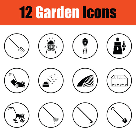 lawn: Set of gardening icons.  Thin circle design. Vector illustration.