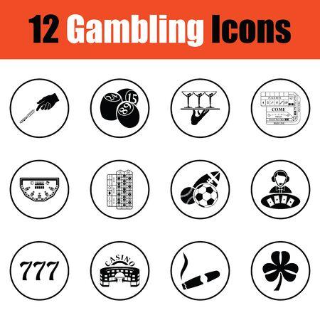 croupier: Gambling icon set.  Thin circle design. Vector illustration.