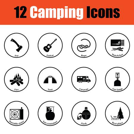 travel burner: Camping icon set.  Thin circle design. Vector illustration.