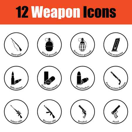 weapons: Set of twelve weapon icons.  Thin circle design. Vector illustration. Illustration