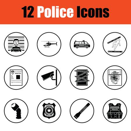 holster: Set of police icons.  Thin circle design. Vector illustration. Illustration